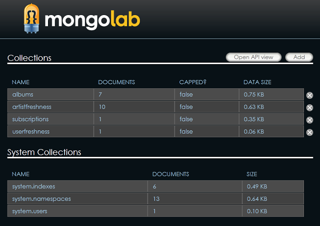 MongoLab Table Dashboard