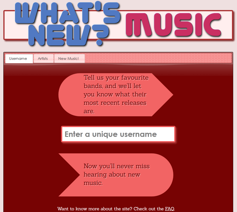 The final What's New? MUSIC design